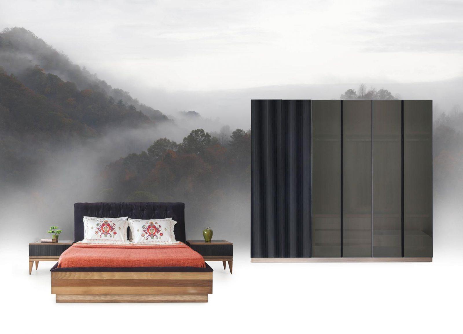 Modern Life Yatak Odası takımı bazalı ceviz karyolası ve 6 kapaklı gardrop modeli ile odanıza zerafet katmaya geliyor.