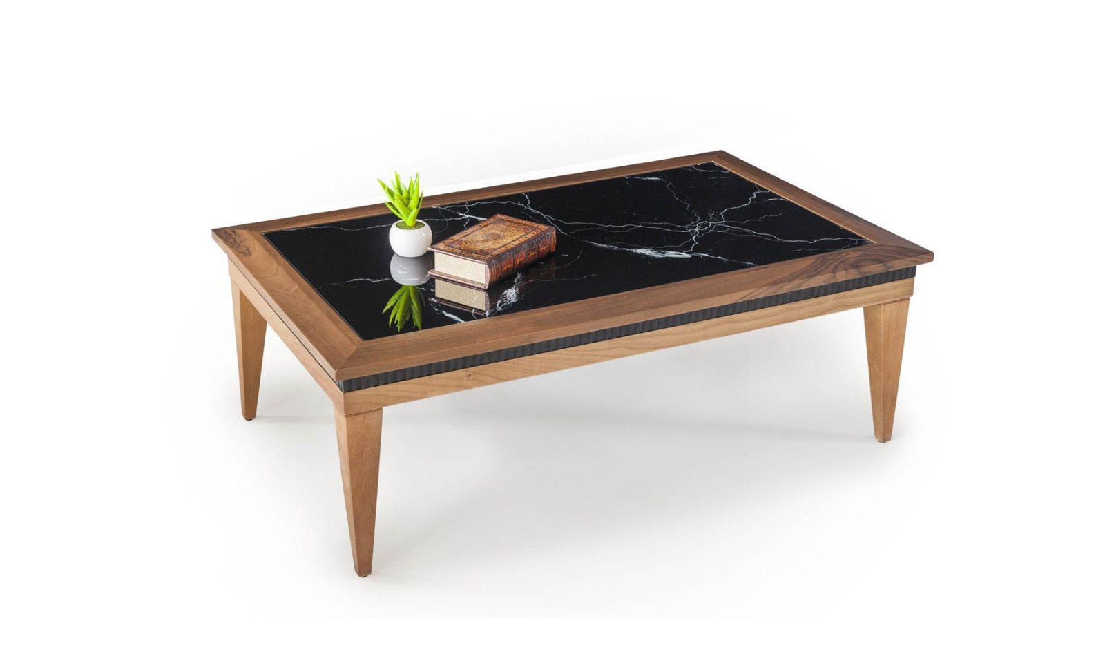 Ürün üst tablasında mdf üzeri mermer görünümlü baskı kullanılmıştır, ayakları masif ahşaptan üretilmiştir.